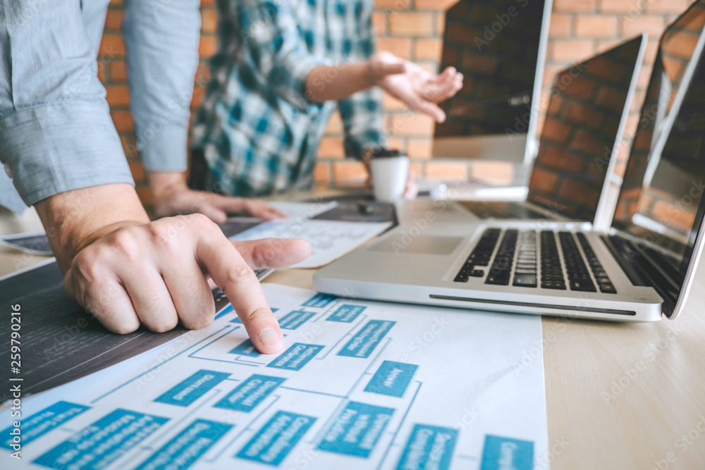 Fototapety, obrazy: Professional Developer programmer cooperation meeting and brainstorming and programming in website working a software outsourcing and coding technology, writing codes and database