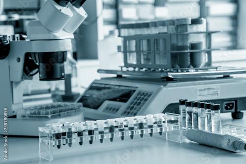 Fotografia  Scientific microscope in the laboratory of forensics