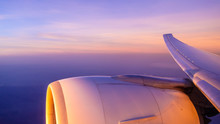Sunrise Over The Wing Of An Aircraft On The Route To Vietnam, Asia