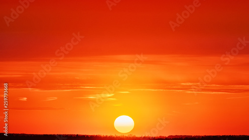 Photo sur Toile Rouge sunset sky with forest on horizon at springtime nature landscape panorama beautiful view of sun and clouds over rural scenery background with sunrise sunlight transition from bright red to yellow