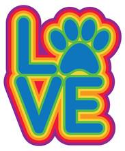 Love Paw Rainbow Colors