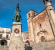 Saint Martin's church and statue of Fransisco Pizarro. Trujillo. Spain