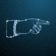 Right forefinger pointing polygonal concept. Pointing hand finger touching a starry sky or space button. Vector illustration low poly wireframe hand with line, dot and star