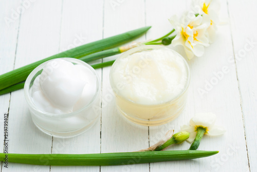 Aluminium Prints Dairy products Moisturizer and daffodil flower