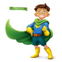 Little Boy In Superhero Costum...