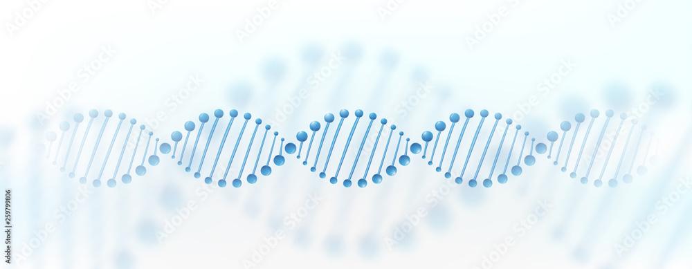 Fototapeta DNA chromosome banner concept. Science technology vector background for biomedical, health, chemistry design. 3D style