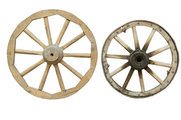 wooden wheels from the cart isolated on white background