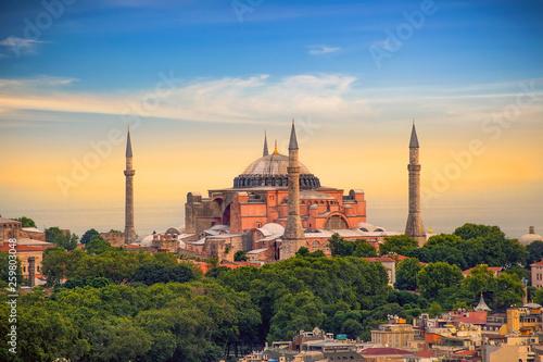 The Hagia Sophia (Ayasofya) in Istanbul Turkey shot at sunset Poster Mural XXL