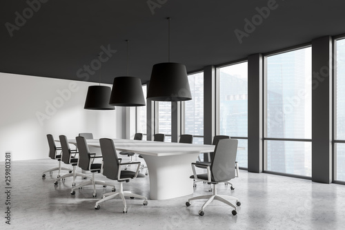 Fotografie, Obraz  Modern conference room interior with window and city view