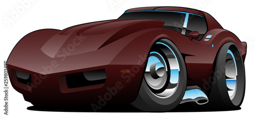 Photo sur Toile Cartoon voitures Classic Seventies American Sports Car Cartoon Isolated Vector Illustration
