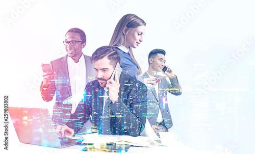 Diverse business team in night city Canvas Print