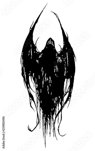 Fototapeta Czarno biała diaboliczna postać na białym tle