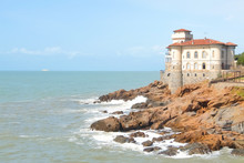 Boccale Castle, Famous Landmark On Cliff Rock And Sea In Autumn. Livorno, Italy.