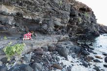 5 Year Old Boy Exploring Rock Ledge, Isla Espiritu, Sea Of Cortez