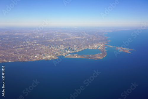 Aerial landscape view of the city of Toronto skyline and Lake Ontario in Ontario, Canada