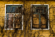 Exterior Of Abandoned House Windows