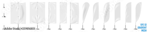 Fototapeta Realistic white banner flags 3d mockup. obraz