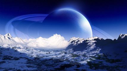 original concept art of distant alien planet environment