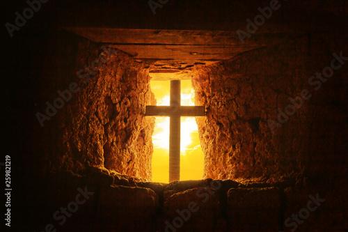Fotografie, Obraz  silhouette of crucifix in old room