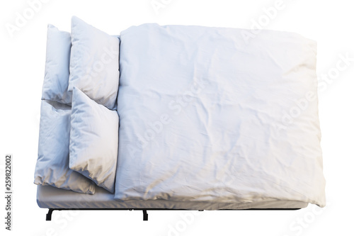 Valokuva  Minimalistic folding bed with linen. 3d render