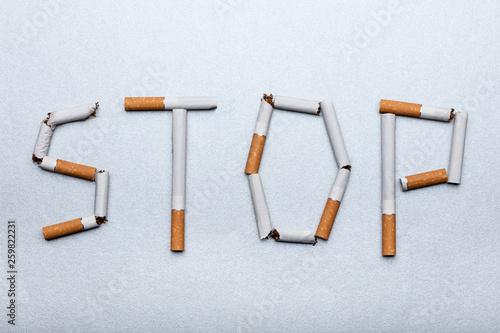 Fotografija  Stop Word Made From Cigarettes