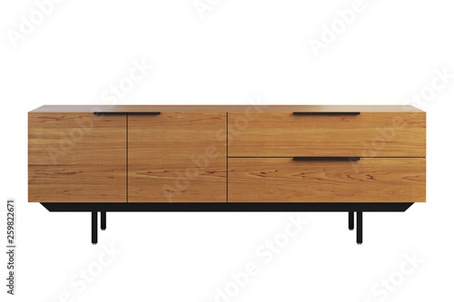 Wooden sideboard with retractable shelves. 3d render Tablou Canvas