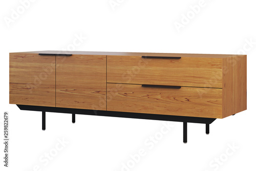 Fotografering Wooden sideboard with retractable shelves. 3d render