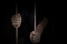 Children Prison And Prisoner Concept, Trafficking Concept