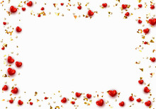 Background With Red Hearts And Round Beads Strewn With Golden Confetti.