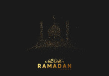 Ramadan Background. Design Is Sand With Golden Squeak Of Mosque Silhouette.