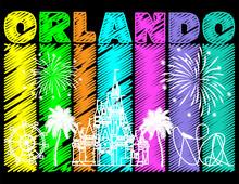 White Orlando Design On Colorf...