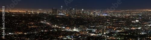 Aluminium Prints Los Angeles Panoramic landscape of Los Angeles city lights at night