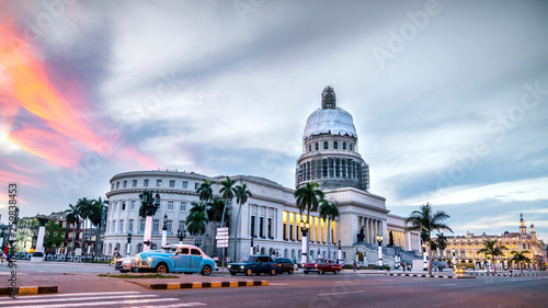 HAVANA,CUBA. High resolution panoramic view of downtown Havana with the Capitol building and classic american cars.