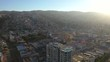 Aerial drone view of city Valparaiso during Sunset.