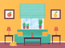 Living Room. Vector. Room Interior With Furniture. Home Lounge With Sofa And Window. Cartoon House Background. Colorful Animated Illustration In Flat Style. Banner Design. Parlor In Modern Apartment.