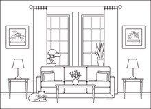 Living Room Interior. Vector. Line Sketch. Outline Home Flat Design With Furniture, Window. Linear Lounge Background. Cartoon House Equipment. Thin Line Illustration. Coloring Page.