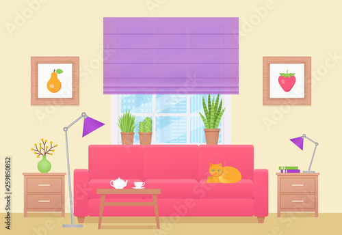 Room Interior Vector Living Room With Furniture Home Lounge With
