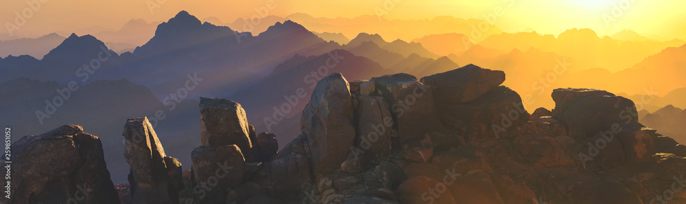 Fototapeta Amazing Sunrise at Sinai Mountain, Beautiful dawn in Egypt, Beautiful view from the mountain