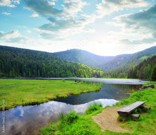 Canvas Prints Pool Kleiner Arbersee lake in the National park Bavarian forest,Germany. Beautiful spring landscape at sunset.