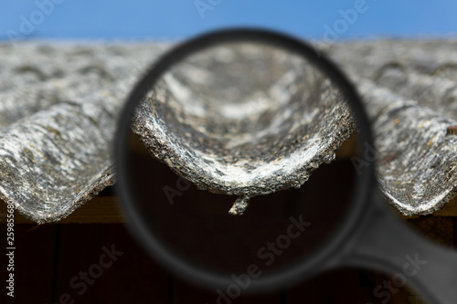 Old and very dangerous asbestos roof Canvas Print