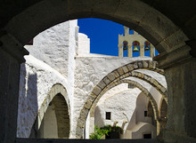Saint John The Evangelist Monastery At Patmos Island In Greece.