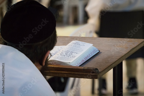Fotografija A religious man sitting and reading a torah at the Wailing Wall