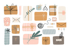 Various Gifts And Presents. Craft Paper, Envelopes, Boxes, Ribbons, Branches And Other Decor Elements. Flat Design. Hand Drawn Trendy Vector Set. Pastel Colors. All Elements Are Isolated