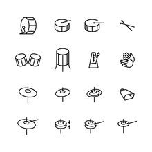 Drums Icons Set. Elements Of Drum Kit Or Digital Machine Samples Symbols.