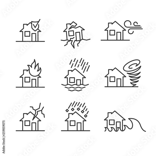 Natural disasters line style symbols Canvas