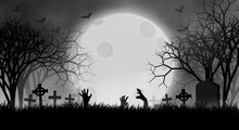 Halloween Theme Concept With Hands Of Zombies In Cemetery, With Fog In Creepy Forest Under The Moon, Illustration Design Background.