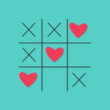 Tic Tac Toe Game With Cross And Red Hearts Sign Mark Love Card