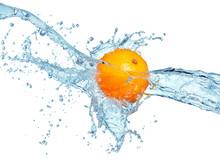 Orange In Water Splash Isolated On White