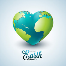 Earth Day Illustration With Planet In The Heart. World Map Background On April 22 Environment Concept. Vector Design For Banner, Poster Or Greeting Card.