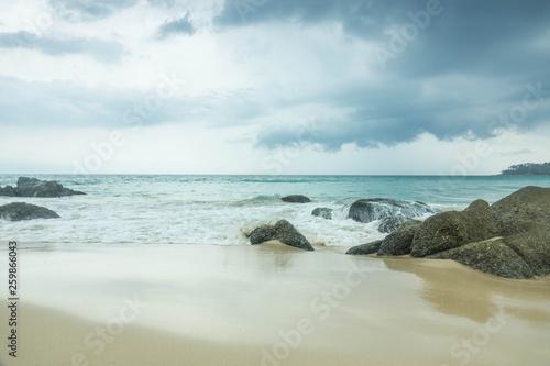 Printed kitchen splashbacks Light blue blue wave on beach of Phuket Thailand